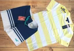 KIT Camisa masculina Tommy Hilfiger Listras amarela 100% gringas c/short look pronto