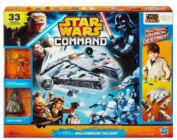 Kit Star Wars, 24 bonecos,9 naves, Command Millennium Falcon .<br>33 peças no total!<br>