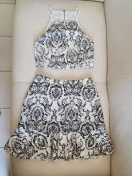 Conjunto Saia Blusa Elegante Branco/Preto Bordado Tamanho P
