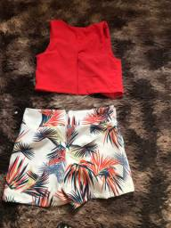 Conjunto  short e croped