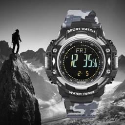 Relógio Pedômetro Masculino Weide Digital WA9J001 Militar Triple Sensor - Cinza Camuflado