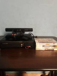 Xbox 360 travado com kinect,manete +4 jogos