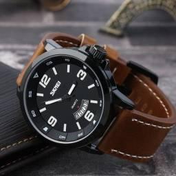 Relógio Masculino Skmei Analógico 9115 Old School - Marrom e Preto