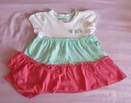 Vestido tricolor com calcinha 6 a 9 meses