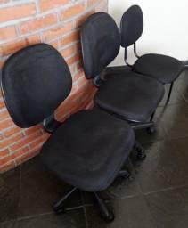 Cadeiras Pretas Escrtiório (lote c/ 3x unidades)