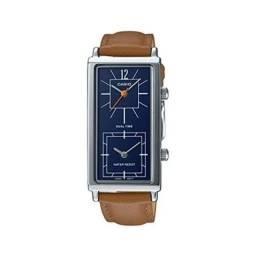 Relógio Casio Feminino Quadrado Dual Time Pulseira Couro 100% Original Novo Lacrado!