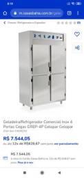 Geladeira comercial industrial inox gelopar 4 portas