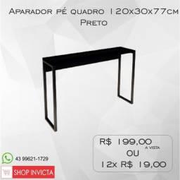 Aparador Home Office Preto Pé Quadro 120x30x77cm / Nova / NFE