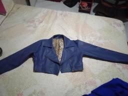 Jaqueta couro sintético azul