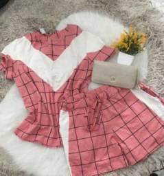 Conjuntinho rosa xadrez G feminino lindo !! Ótimo preço !
