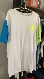 camiseta champion neon azul e branca