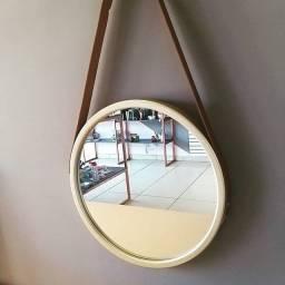 Espelho 45cm com Alça de Couro + Suporte de Brinde [Entrega GRÁTIS*]