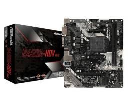 Placa-Mãe ASRock B450M-HDV r4.0, Amd AM4, Micro ATX, DDR4- Novo lacrado
