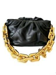 Bolsa Feminina Corrente Dourada Alça De Mão E Transversal Ajustável Luxo Couro Sintético