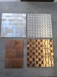 Pastilha 3d metal Mosaico Prata, ouro, azul, vermelho, padrão de ouro, laranja, bronze