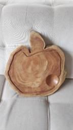 Taboa formato de maçã de corte e Frios em madeira castanheira