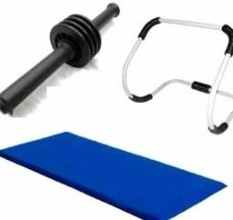 Kit treinamento abdominal completo arco roda e colchonete