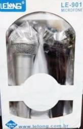 Kit Microfone Lelong Com Fio Preto Com Cinza Le-901
