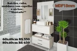 Armário de banheiro novo com cuba e espelheira. Diversos modelos, Lindos!