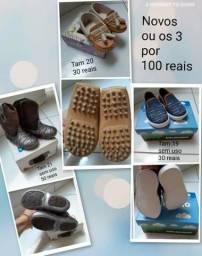 Calçado de menino novos tamanho 19,20 e 21 os 3 por 100 reais