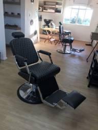 Cadeira Barbeiro Reclinável Diamond Cromo Black