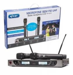 Microfone Sem Fio Duplo Profissional Display Digital KP-U914