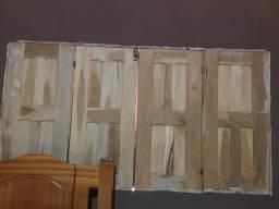 Venda está janela nova de quatro folha completa e esta porta de duas folhas completa