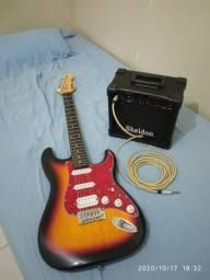 Guitarra PHX e cubo Sheldon GT1200 com cabo.