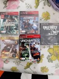 Uncharted coleção completa ps3 e cód ghosts