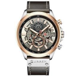 Relógio original em aço e couro Marca Curren 100% Funcional.