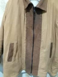Jaqueta em Couro Nobuk marrom com pele