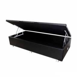 Base Box Com Baú Solteiro 36x88x188 Preta Corino