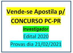Vende-se Apostila p/ Concurso da Polícia Civil do Paraná PCPR, edital 2020