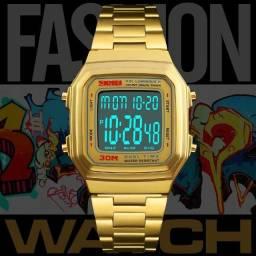 Relógio Unissex Skmei Digital 1337 Vintage - Dourado