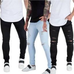 Calças masculinas Sarja Skinny com Lycra