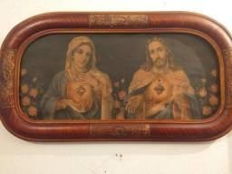 Quadro antigo oval sagrado coração de Jesus e Maria