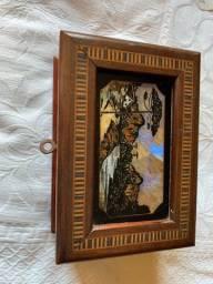 Porta joias caixa madeira antiga marchetaria