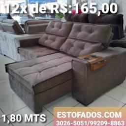 Sofá retrátil e reclinável com espuma D33! >> (12X de R$165,00)
