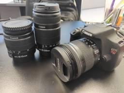 Câmera Canon EOS Rebel T5 profissional - Acompanha bolsa, carregador e 3 lentes