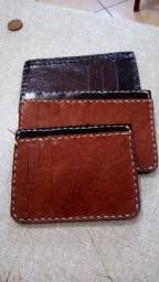 Carteira slim artesanal couro legitimo, cnh ou rg