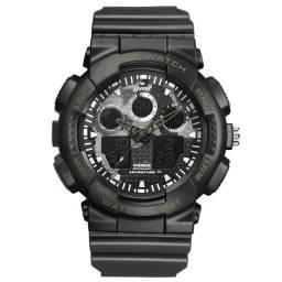 Relógio Resistente à Água Masculino Weide AnaDigi WA3J8003 Shock - Preto e Verde