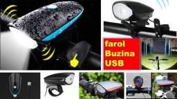 Farol buzina bike recarregável//entrega grátis Jp