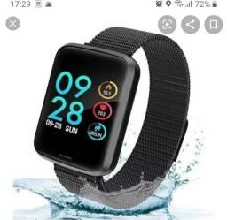 Relogio smartwatch P70 com duas pulseiras aço