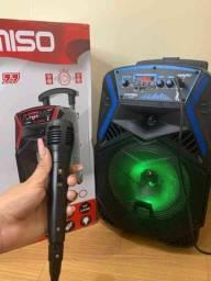 Caixa de som amplificada 1000w de potência e karaoke
