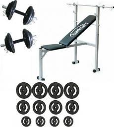Kit promocional - banco supino para até 100kg - barras , anilhas , pesos , musculação 50kg