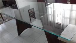 Mesa de jantar retangular 6 lugares tampo vidro 8mm