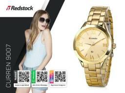 0c689d8723711 Redstock   3x Sem Juros + Frete Grátis   Relógio Curren 9007 Feminino Aço  Inox -