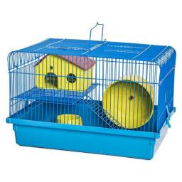 Gaiola de hamster, serragem e ração