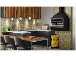 churrasqueira de parede aço carbono preta linda completa