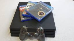 Playstation 4 Pro Ps4 Pro 2tb + 1 Controle + 3 Jogos